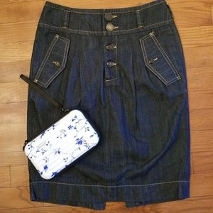 French Connection Denim Button Down Skirt